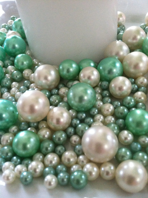 Seafoam Green And Ivory Pearls No Holes Vase Fillers/Floating Pearl Centerpieces (375pc mix)