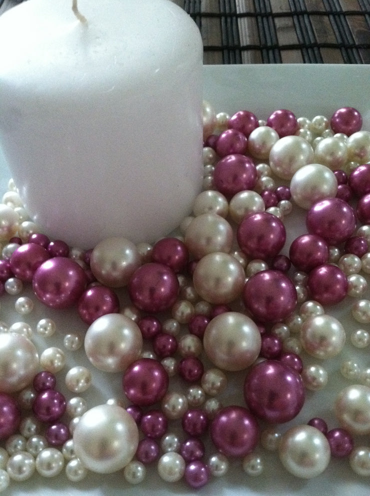Orchid Purple And Ivory Pearls No Holes Vase Fillers/Floating Pearl Centerpieces (375pc mix)