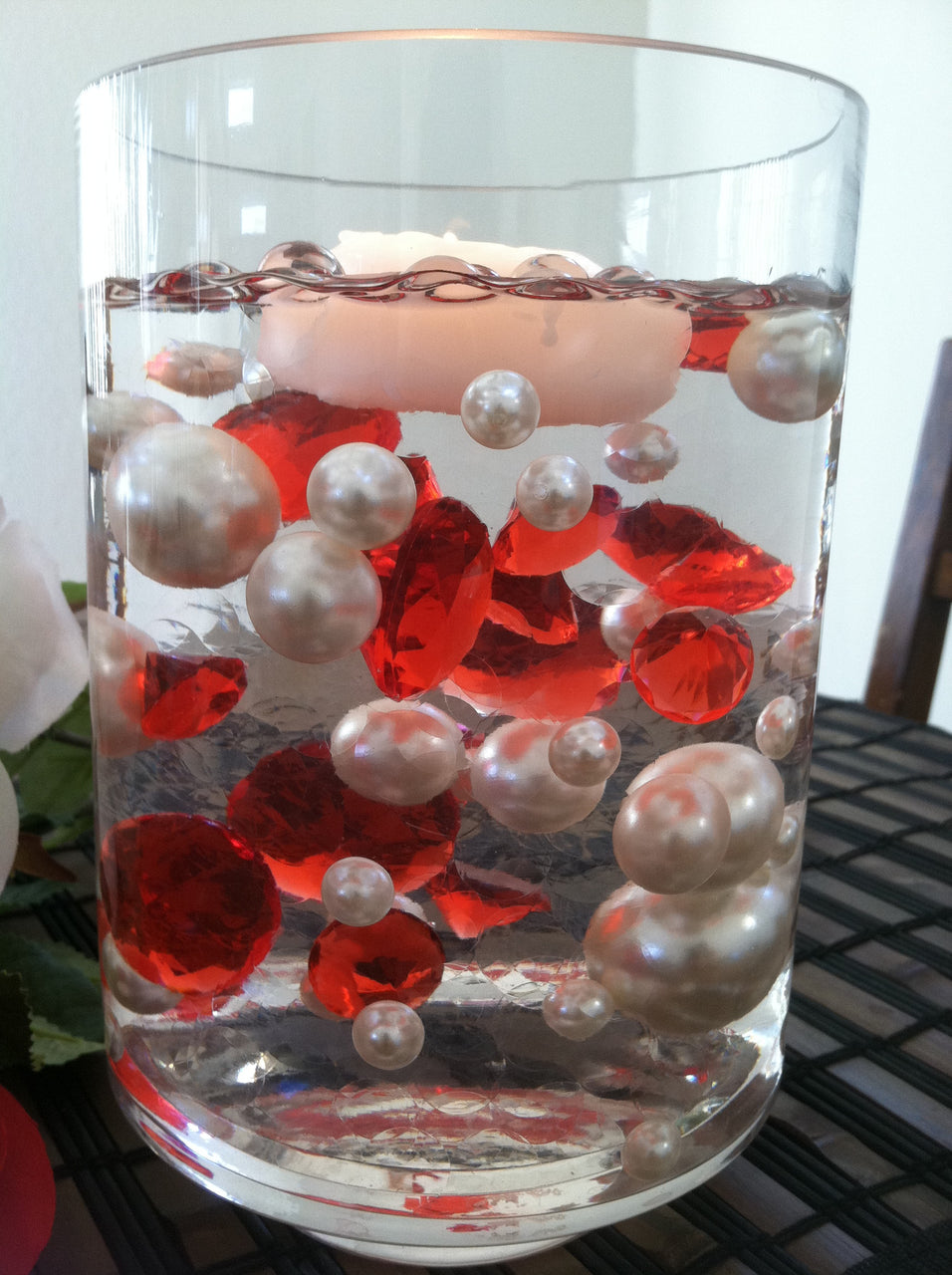 Floating diamonds and pearl centerpiece vase filler gems table floating diamonds and pearl centerpiece vase filler gems table scatters reviewsmspy