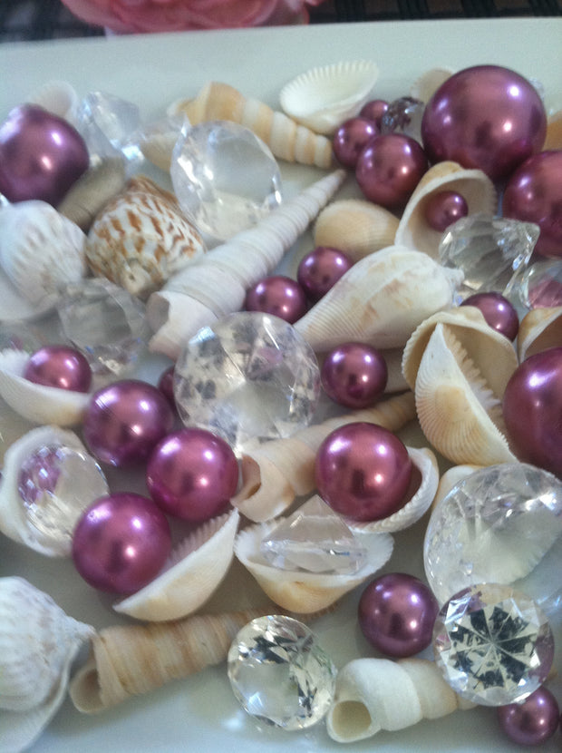 Mix Seashells, Purple Pearls & Diamond Vase Fillers, Bowl Fillers, Table Scatter/Confetti, Coastal Decor