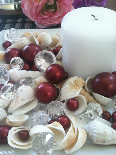 Mix Seashells, Burgundy Pearls & Diamond Vase Fillers, Bowl Fillers, Table Scatter/Confetti, Coastal Decor