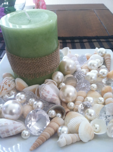 Mix Seashells, Ivory Pearls & Diamond Vase Fillers, Bowl Fillers, Table Scatter/Confetti, Coastal Decor