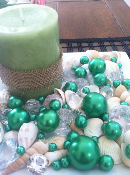 Mix Seashells, Green Pearls & Diamond Vase Fillers, Bowl Fillers, Table Scatter/Confetti, Coastal Decor