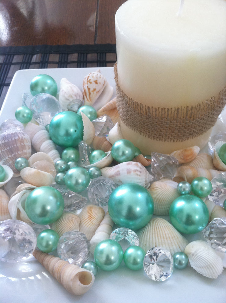 Mix Seashells, Seafoam Green Pearls & Diamond Vase Fillers, Bowl Fillers, Table Scatter/Confetti, Coastal Decor