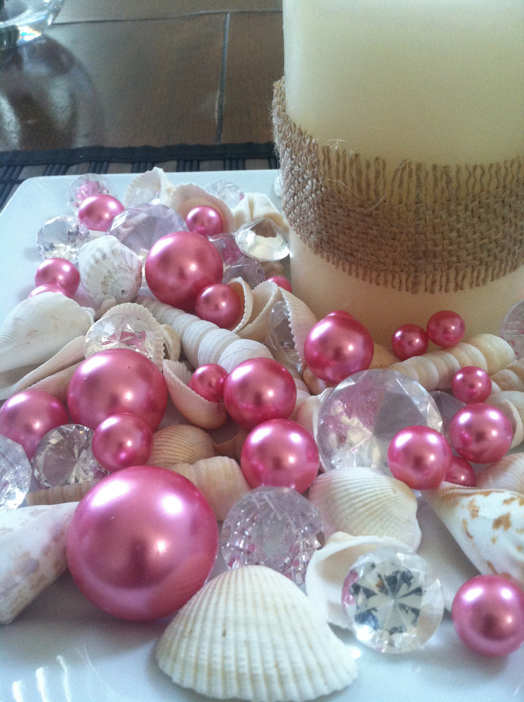 Mix Seashells, Pink Pearls & Diamond Vase Fillers, Bowl Fillers, Table Scatter/Confetti, Coastal Decor