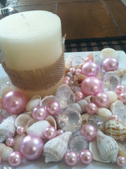 Mix Seashells, Light Pink Pearls & Diamond Vase Fillers, Bowl Fillers, Table Scatter/Confetti, Coastal Decor