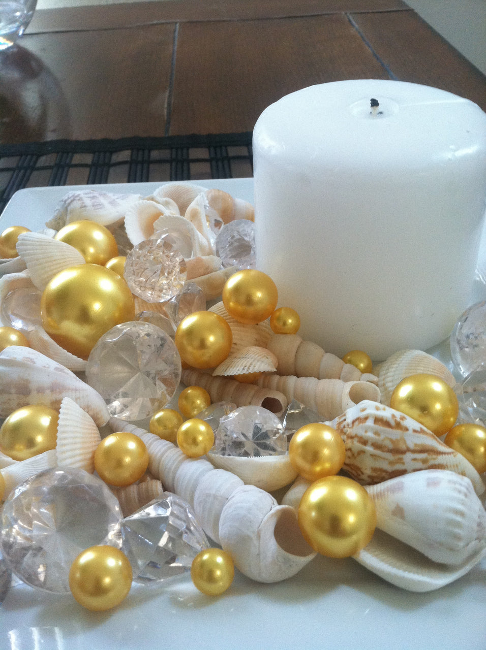 Mix Seashells, Gold Pearls & Diamond Vase Fillers, Bowl Fillers, Table Scatter/Confetti, Coastal Decor