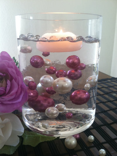 Orchid Purple/Ivory Floating Pearls Centerpiece, Vase Fillers, Table Scatters