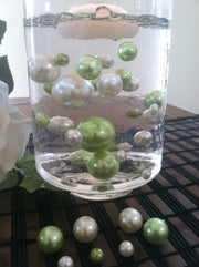 Ivory/Lime Green Floating Pearls Centerpiece, Vase Fillers, Table Scatters