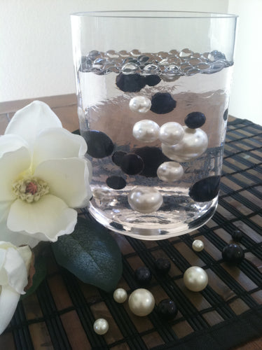 Black/White Jumbo Floating Pearls Centerpiece, Vase Fillers, Table Scatters