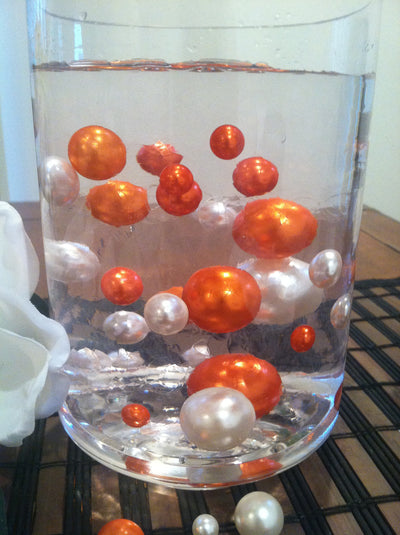 Orange/White Floating Pearls Centerpiece, Vase Fillers, Table Scatters