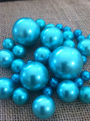 Teal Blue/Ivory Floating Pearls Centerpiece, Vase Fillers, Table Scatters