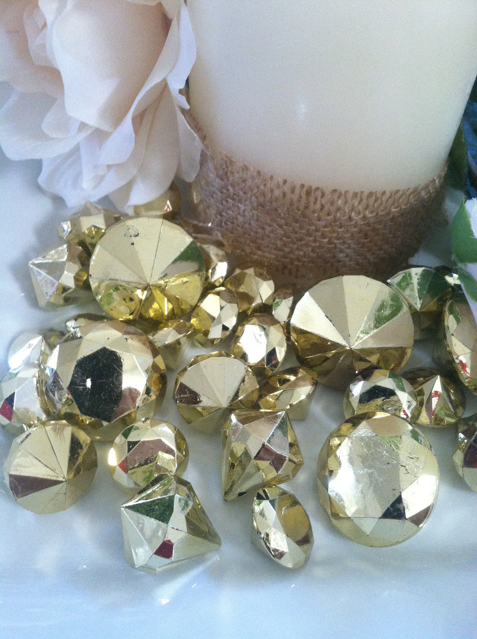 Gold Metallic Diamond Table Scatter And Confetti
