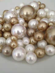 Champagne And Ivory Vase Filler Pearls, DIY Floating Pearl Centerpiece, Table Scatters And Confetti, Jumbo No Hole Pearls Mix Size Pearls