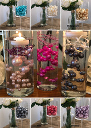 Floating Pearls Wedding Centerpiece No Hole Pearls (Select Color)