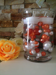 DIY Floating Pearl Centerpiece Vase Filler Pearls Coral Orange/White Pearls 80 Jumbo & Mix Size Pearls, No Hole Pearls