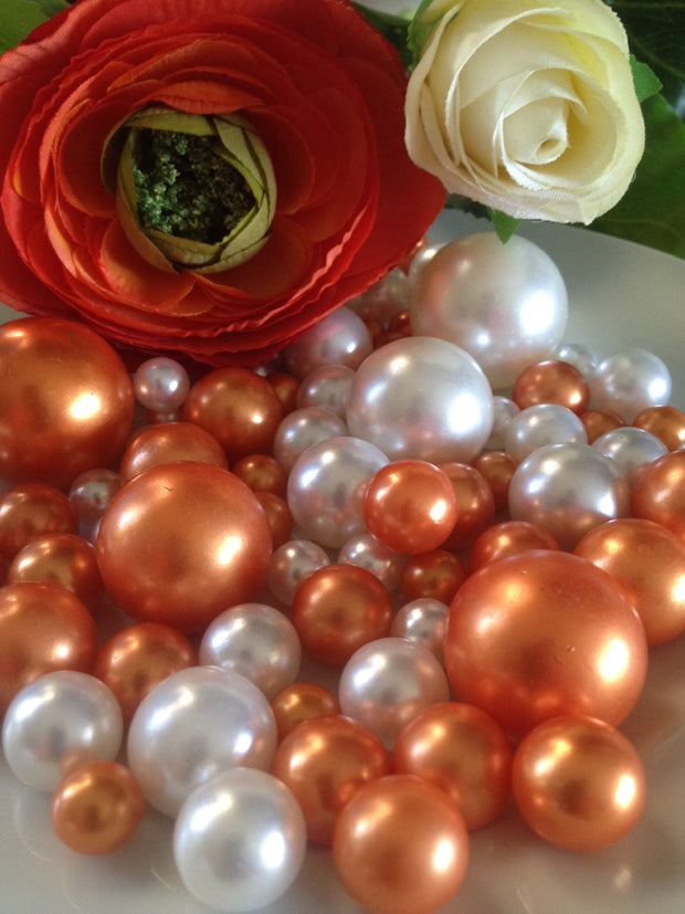 Coral Orange And White Pearls, Vase Filler Pearls, DIY Floating Pearl Centerpiece, Table Scatters And Confetti, Jumbo Mix Size Pearls