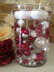 80 Cranberry/White Pearls, Jumbo & Mix Size Pearls, No Hole Pearls For Vase Fillers, Crafts, DIY Floating Pearls