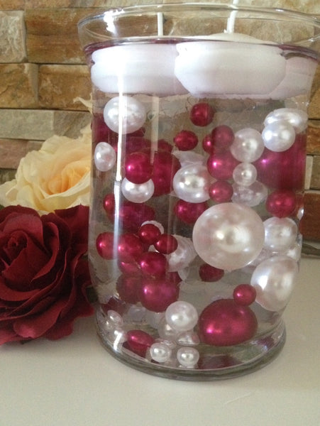 Cranberry Red And White Vase Filler Pearls Diy Floating Pearl Centerp Floating Pearls