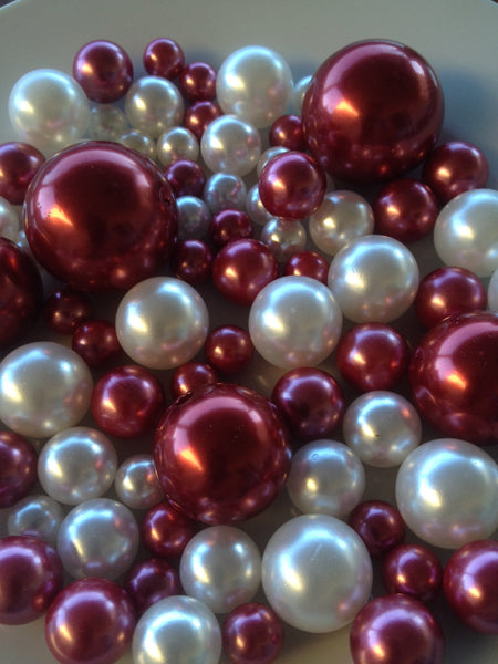 Cranberry Red And White Vase Filler Pearls, DIY Floating Pearl Centerpiece, Table Scatters And Confetti, Jumbo Mix Size Pearls