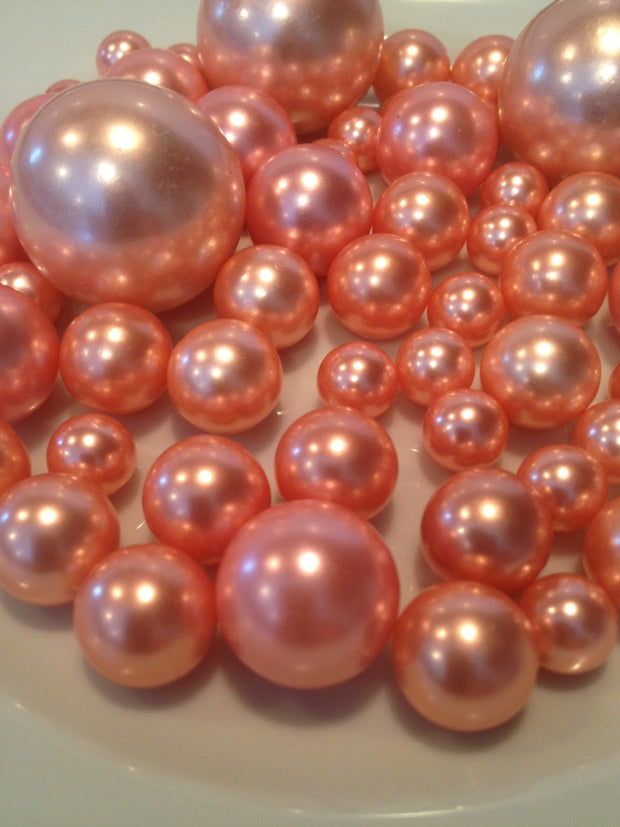 Vase Filler Pearls Dusty Coral Pearls 80 Mix Size No Hole Pearls, Table Scatters/Confetti Pearls