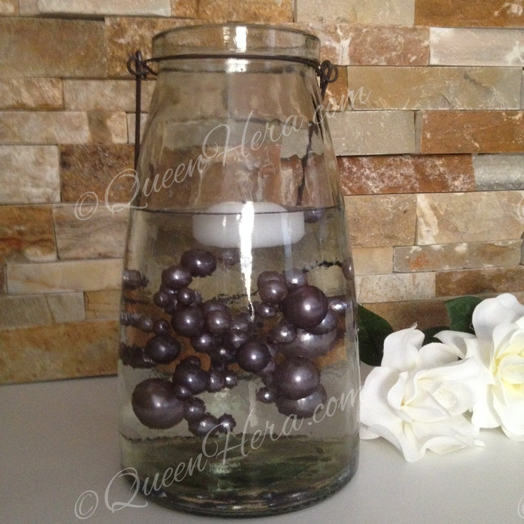 Floating Pearl Centerpiece-Smoke Gray Jumbo Pearls Vase Filler Pearls (no hole pearls) - Table Decors, Scatters