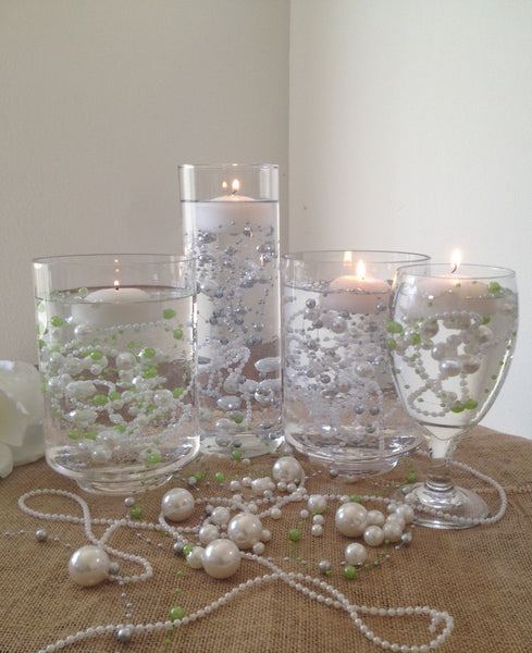 Pearl Wedding Decoration Ideas: 8mm & 3mm Floating Beaded Pearl Centerpieces Choose From