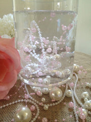 8mm & 3mm Ivory Pearl Beads Garland -Wedding Decoration, Special Events, Trims Available in: 1yd/3yd/5yd/10yd/1roll