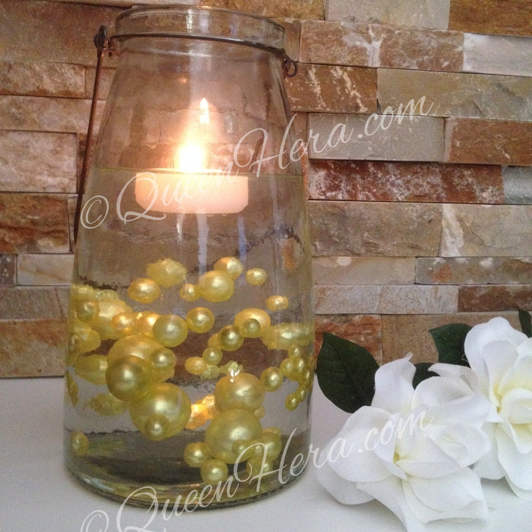 Floating Pearl Centerpiece-Yellow Yolk Jumbo Pearls Vase Filler Pearls (no hole pearls) - Table Decors, Scatters