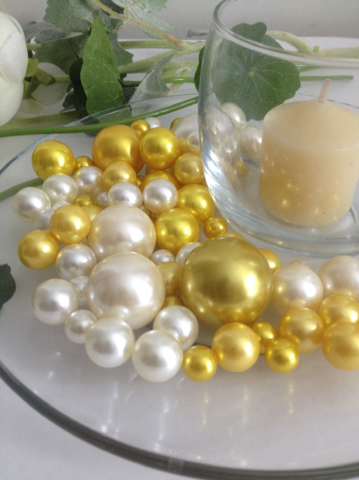 Gold And Ivory Pearls, Vase Filler Pearls, DIY Floating Pearl Centerpiece, Table Scatters And Confetti, Jumbo Mix Size Pearls