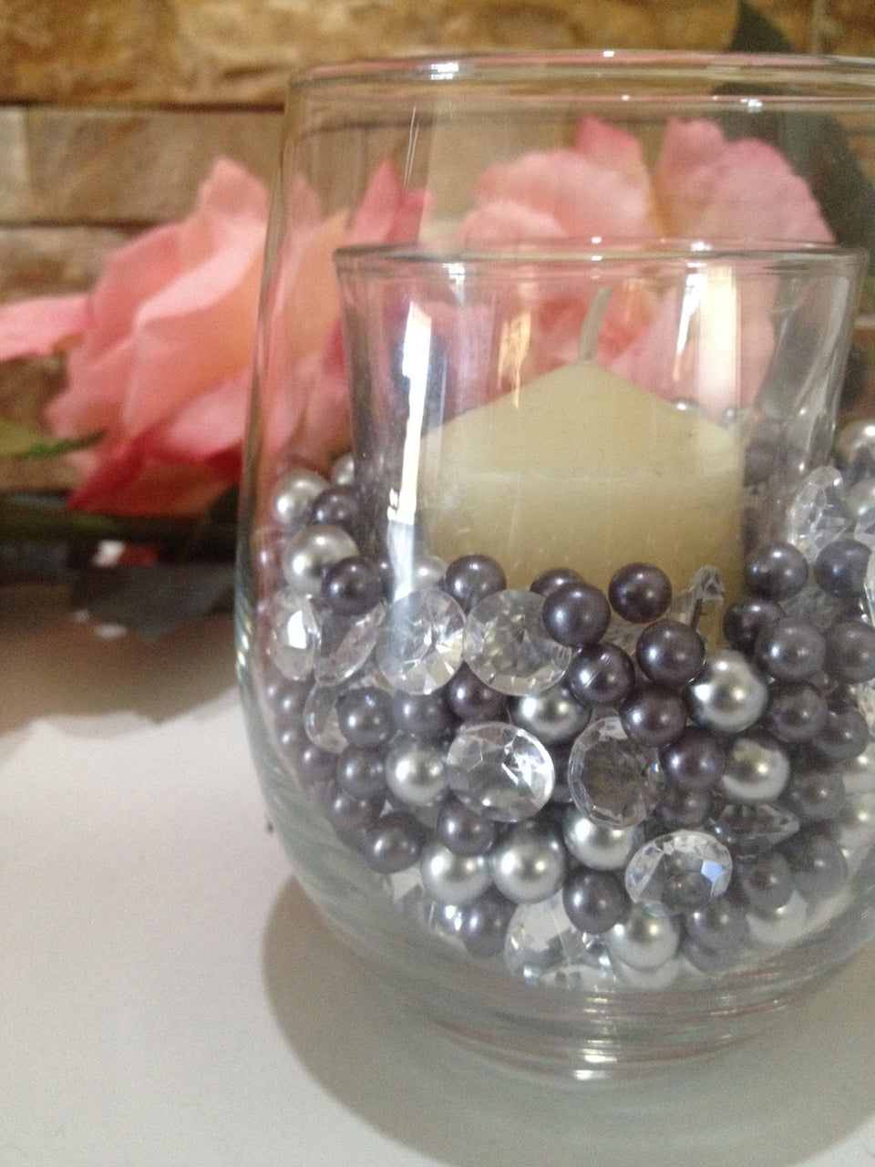 Diamonds And Pearls Table Scatter, Light Silver & Gray Pearls, Clear Diamond Table Confetti, Vase Filler Pearls For Candles, Wine glass