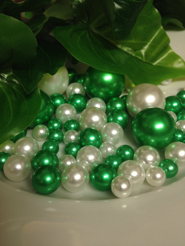 Shamrock Green And White Pearls, Vase Filler Pearls, DIY Floating Pearl Centerpiece, Table Scatters And Confetti, Jumbo Mix Size Pearls