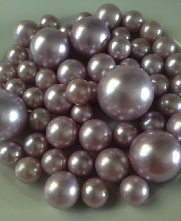 Lilac Jumbo Pearls No holes, Vase Filler Pearls (14-18-24-30mm) Floating Pearl Centerpiece