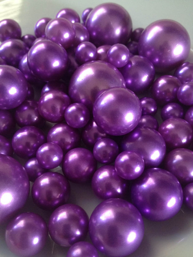 30/80pc Orchid Purple Jumbo Pearls - No Hole Pearls, Vase Filler Pearls, Floating Pearl Centerpiece, Mix Size 10mm 14mm 18mm 24mm