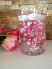 80pc Pink/White Floating Pearls Decors, Jumbo Pearls Vase Fillers, No Hole Pearls, Decorative Pearls, Pearls Confetti