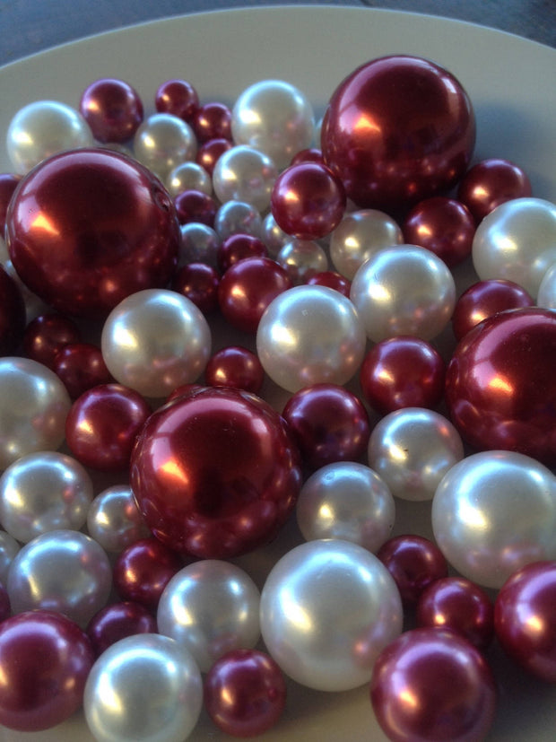 Cranberry Red/White Decorative Jumbo Pearls Vase Fillers Table Scatters, Floating Pearl Centerpiece
