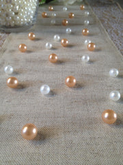 Light Peach and White Vintage Table Pearl Scatters For Baby Shower, Bridal and Wedding, Parties, Special Events Decor