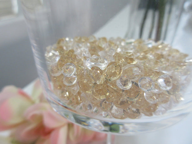 Raindrop beads Vase Fillers, Champagne/Clear Acrylic Diamond Gems Vase Fillers, 3000/pk  Mix Size  (4.5mm, 6mm, 7mm)