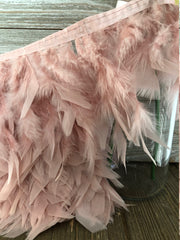 Blush Pink Rooster Hackle Feather Fringe Trim DIY Feather Chandelier, DIY feather lampshade, feather dream catcher, gatsby