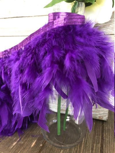 Purple Rooster Hackle Feather Fringe Trim DIY Feather Chandelier, DIY feather lampshade, feather dream catcher, gatsby