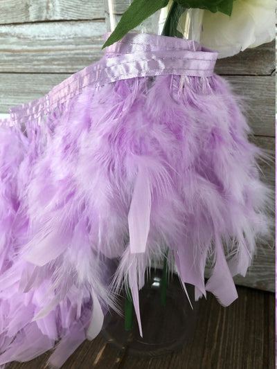 Lavendar Rooster Hackle Feather Fringe Trim DIY Feather Chandelier, DIY feather lampshade, feather dream catcher, gatsby