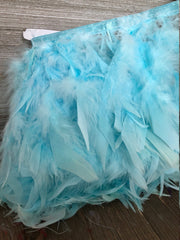 Light blue Rooster Hackle Feather Fringe Trim DIY Feather Chandelier, DIY feather lampshade, feather dream catcher, gatsby