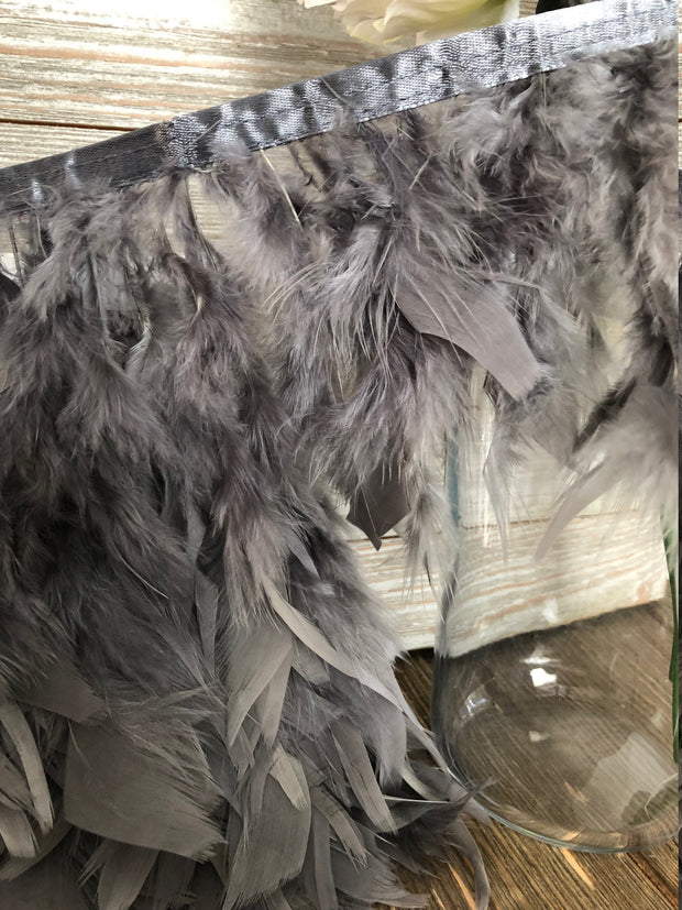 Gray Rooster Hackle Feather Fringe Trim DIY Feather Chandelier, DIY feather lampshade, feather dream catcher, gatsby