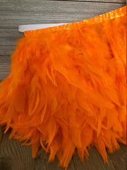 Orange Rooster Hackle Feather Fringe Trim DIY Feather Chandelier, DIY feather lampshade, feather dream catcher, gatsby