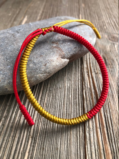 Lucky String Bracelet, Tibetan Buddhist Lucky Knots Bracelet - Red/Gold for Protection And Prospertiy