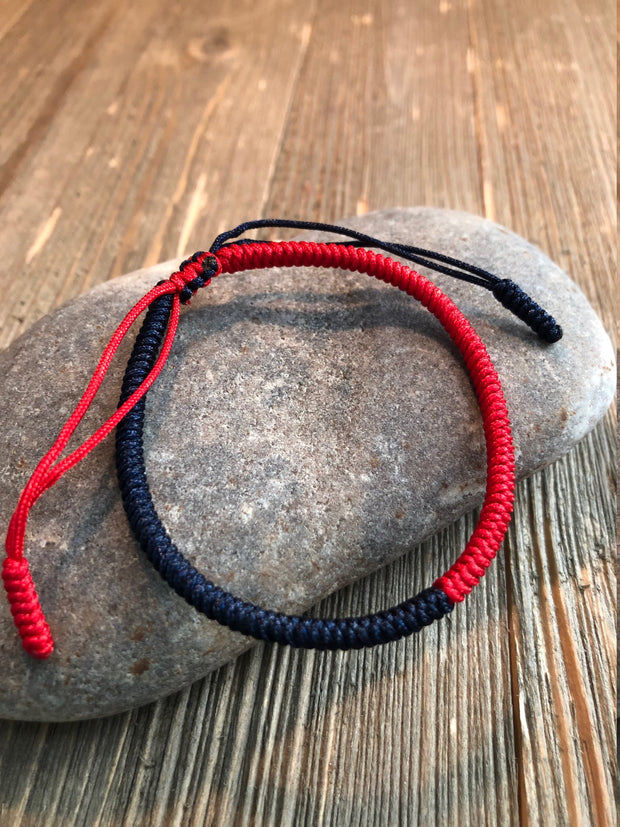 Lucky String Bracelet, Tibetan Buddhist Lucky Knots Bracelet - Red/Navy For Passion and Confidence