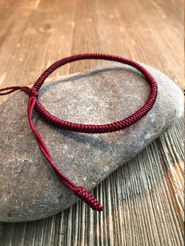 Lucky String Bracelet, Tibetan Buddhist Lucky Knots Bracelet - Dark Red For Protection Courage