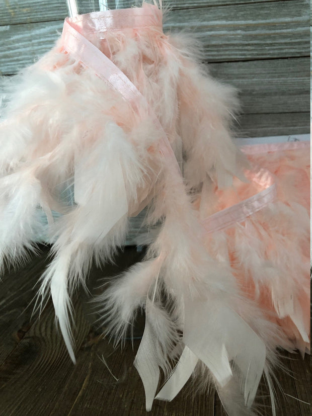 Rooster Hackle Feather Fringe Trim - Light Pink, DIY Feather Chandelier, Feather Balls, feather lampshade, feather dream catcher, gatsby