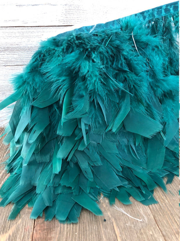 Teal blue Rooster Hackle Feather Fringe Trim DIY Feather Chandelier, Feather Balls, feather lampshade, feather dream catcher, gatsby