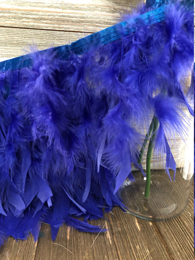 Royal blue Rooster Hackle Feather Fringe Trim DIY Feather Chandelier, DIY feather lampshade, feather dream catcher, gatsby